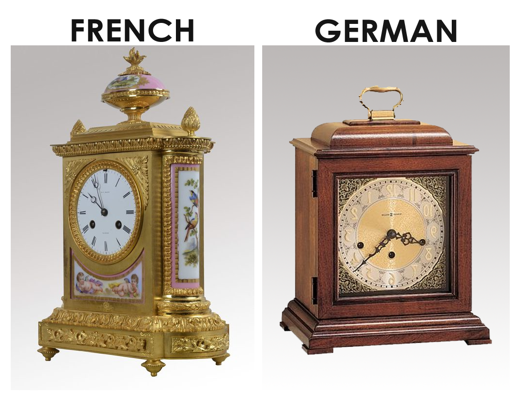 french and german mantel clocks