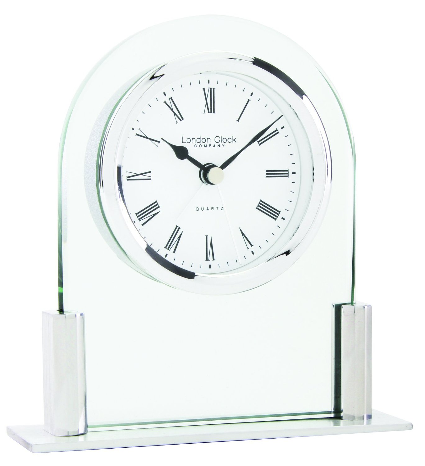 glass arch glass mantel clock
