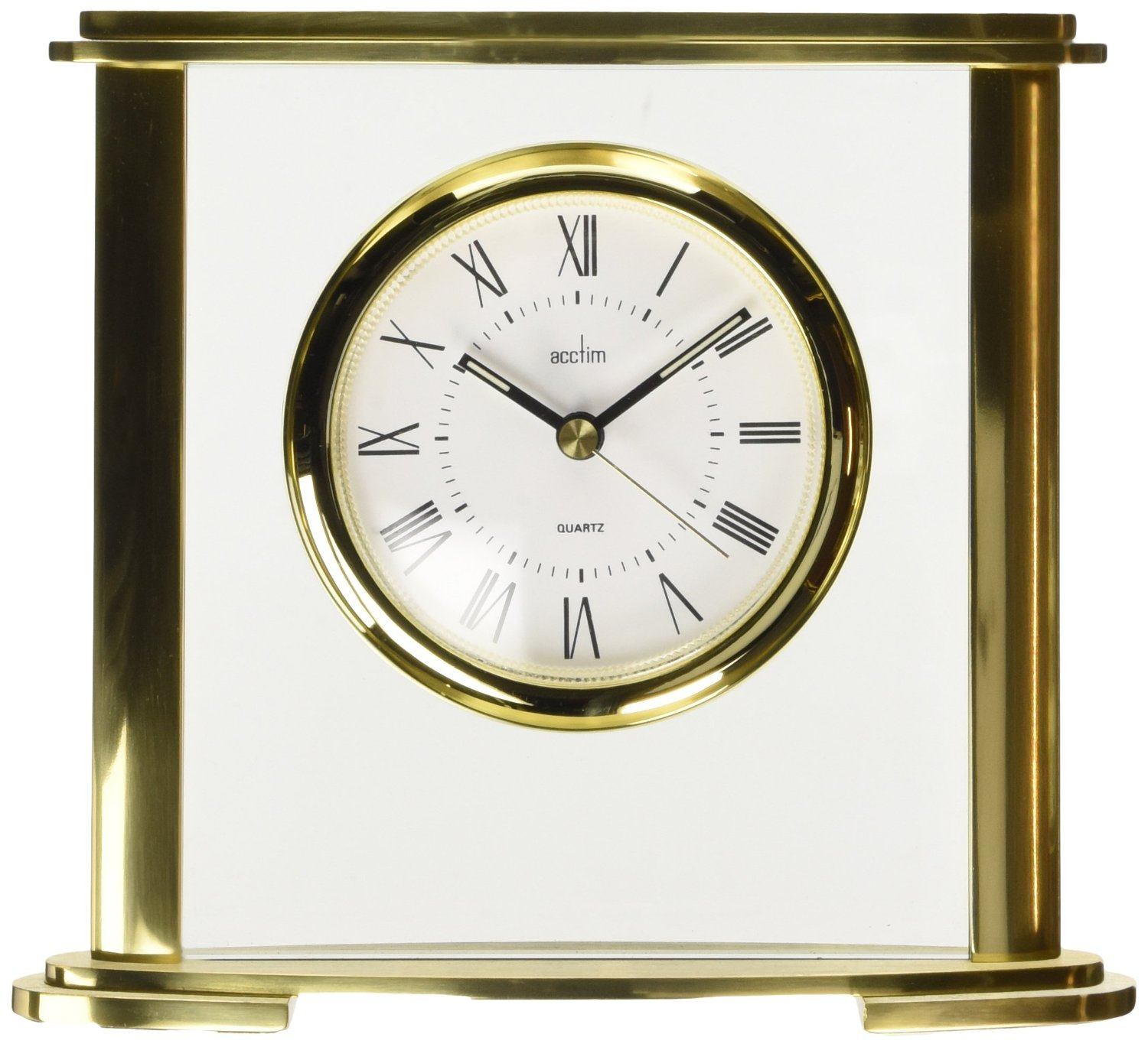 gold glass mantel clock