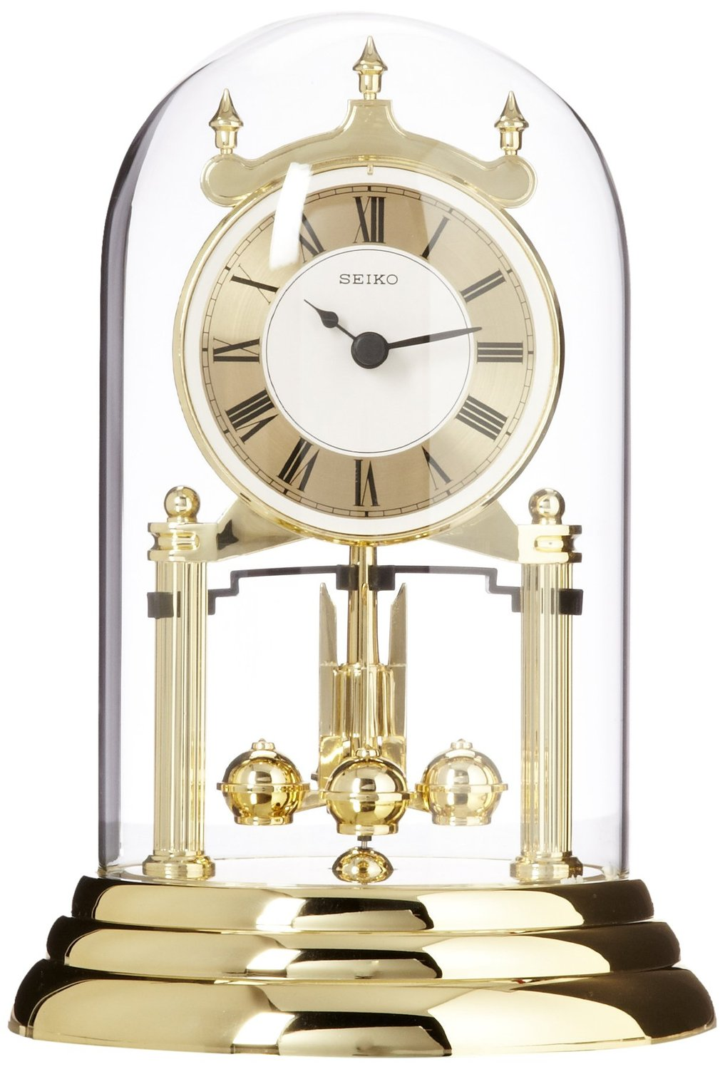 seiko glass mantel clock