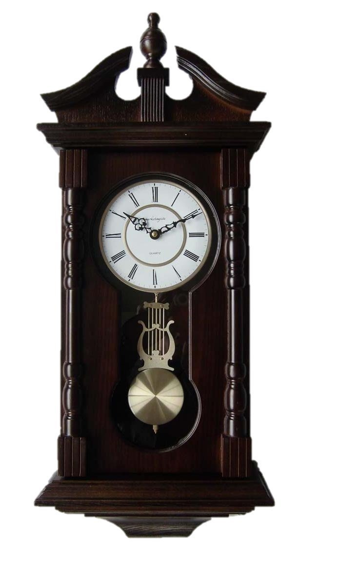 Pinnacle Grandfather Wood Wall Clock. Chiming Clocks